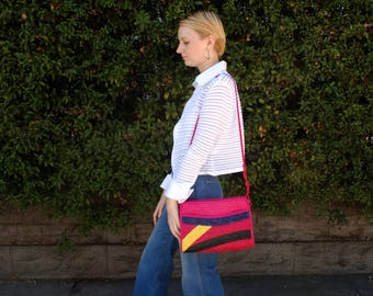Vintage 80s Graphic Multi-Colored Woven Straw Crossbody Bag