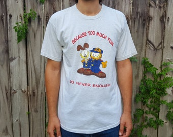 Garfield shirt / 90s graphic tee / Boy Scouts of America tshirt / summer camp shirt / heather grey t shirt / L
