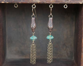 Snake Serpent Earrings with Sea Green Beads and Tassels French Brass Antique Vintage Style