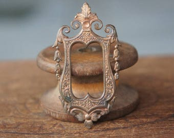 Vintage French Brass Stamping/Antique Style/Ornate Frame/Pendant/Victorian/Art Nouveau/French Findings