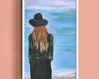 Lady of the ocean Painting Art Acrylic Original // 6 × 9.5 on Paper