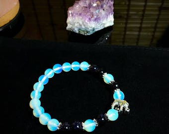 Opalite & Blue Sands Gemstone Bracelet with Silver Elephant Trendy Beautiful Sparkly Purple Trunk Up Good Luck Charm Lucky