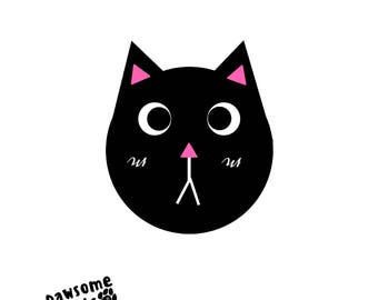 Black and White Cute Cat Face Graphic Art Design Wall Print 8.5inx11in