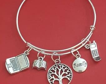 Silver Genealogist Themed Charm Bracelet