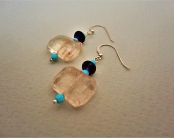 Rock Crystal Earrings. Amethyst Earrings. Turquoise Earrings. Silver Earrings. Flat Rock Crystal Earrings. Clear Earrings. Silver Earrings.