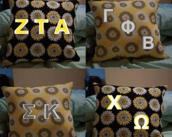 Double Stitch Greek Letter Pillow