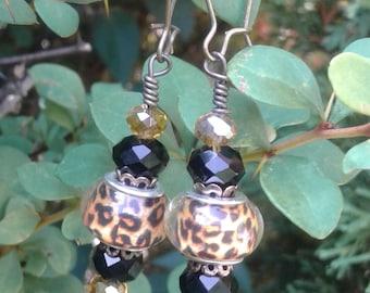Cheetah Print Earrings with Swarovksi.Crystals