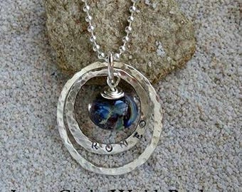 Ashes in Glass,Double Inner Circle Memorial Necklace, Pet Memorial, Cremation Jewelry