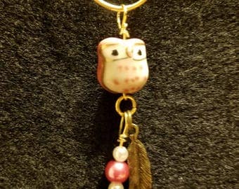 Pink Owl Charm Necklace