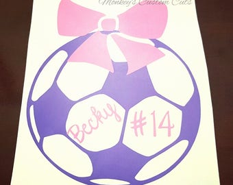Girl Soccer Car Decal, Soccer Decal, Soccer Decal with Bow, Personalized Soccer Decal, Custom Soccer Decal, Soccer, Ball Decal, Car Decal