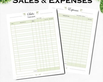 Sales tracker, expenses tracker, printable small business planner, download Letter and A4 PDF.