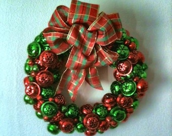 Red and green jingle bell christmas wreath