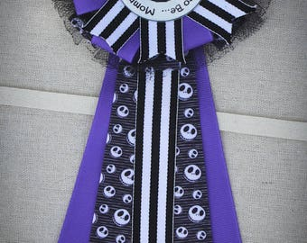 Nightmare Before Christmas Baby Shower Corsage, Jack Mommy to Be Pin, Mommy to Be Corsage, Halloween Baby Shower Mum, Jack Baby Shower Pin