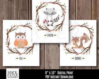 Printable Woodland Nursery Art, Forest Animal Nursery Art, Woodland Digital Print, Forest Animal Wall Art, Nursery Art Set of 3, SKU-RNA115B