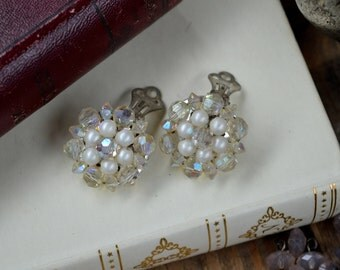 1950's Cluster Earrings, Vintage Earrings, Antique Earrings, Cluster Earrings, 1940s Gifts for Her, Wedding Gift, Earrings, Clip On Earrings