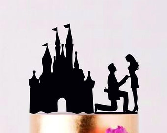 Proposing at the Castle Wedding Cake Topper, Custom Wedding Topper, Bride and Groom, Cake Silhouette, Couple in Disney Castle
