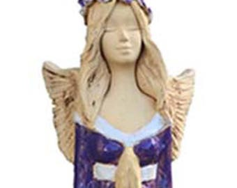 Floor Standing Ceramic Angel | Ceramic Hand Made Sculpture for Indoor and Outdoor | Large Statement Piece