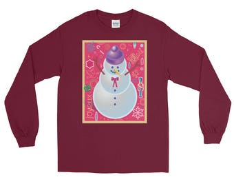 Christmas Snowman Collage Long Sleeve T-shirt | Holiday Art | Unisex Gift Tee | Seasons Greetings