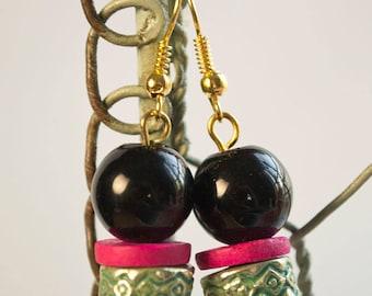 Black Bead Pink Gold Earrings