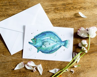 Watercolour and Ink Flounder Printed Card
