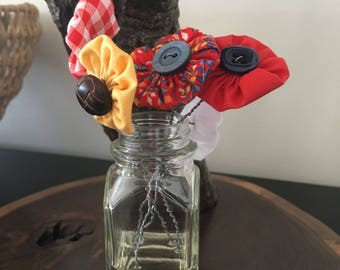 Fabric yo-yo button bouquet