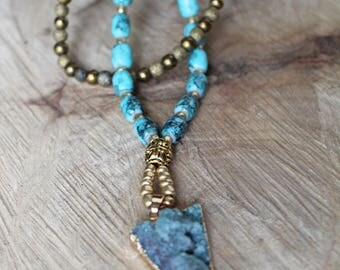 Turquoise and Gold Two-Tiered Beaded Necklace