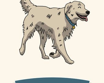 Father's Day Card - #1 Dog Dad Golden Retriever greetings card