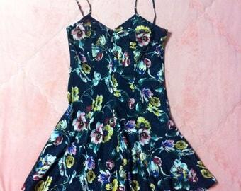 Navy Blue Vintage Floral Slip Dress / Vintage Colorful Floral Slip