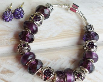 PLUM CRAZY - Purple Lampwork, Tibetan Silver Crystal Silver Chain Charm Bracelet w/locking clasp