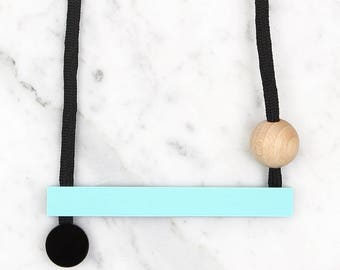 Minimalist Necklace / Acrylic Mint Long Bar / Statement Necklace / Contemporary Necklace