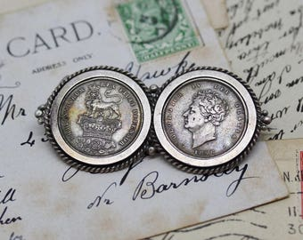 Antique / George IV Movable Double Silver Shilling Coin Brooch