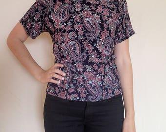 Christine David 80s paisley blouse