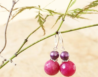 Natural Fuchsia Pink Quartz Earrings, Pink and Purple Earrings, Faceted Fuchsia Pink Stone Earrings, Pink and Purple Earrings