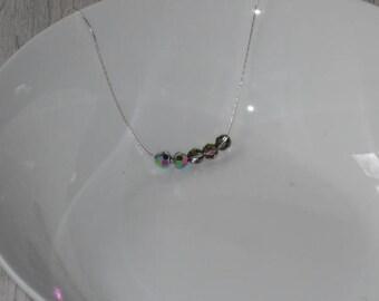 Swarovski Vitrail Necklace,Vitrail Jewelry,Swarovski Crystal Necklace With Sterling Silver Chain,Gemstone Necklace,Swarovski Beaded Necklace