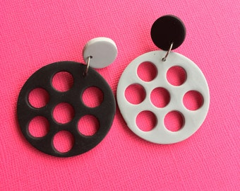 Licorice - Black Sesame/black and charcoal/ polymer clay/ polka dot/ dangle earrings