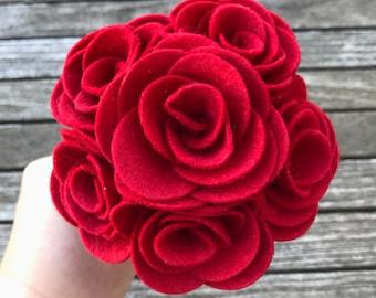 Valentine's Bouquet, Rose Bouquet, Valentine's Flowers, Roses, Red Roses, Valentine Roses, Valentine Felt, Valentine's Felt, Felt Flowers