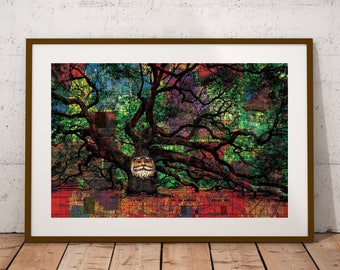 Mr. Tree Poster Print- Mystical Poster Print- Psychedelic Wall Art- Tree Poster- Green Red Wall Art- Nature Wall Decor- Trippy Poster Print