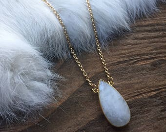 Moonstone Oval Pendant Layering Necklace