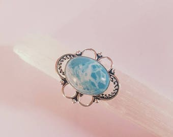 Blue Larimar Ring Blue Larimar Crystal Statement Ring Silver Plated Ring size 7