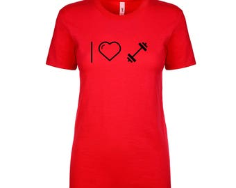 I Love Weights Ladies Fitted T-shirt, I Heart Weights Ladies T-shirt