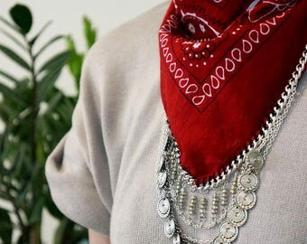 Red Bandana with silver chain and charms