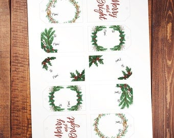 Printable Painted Holiday Gift Tags
