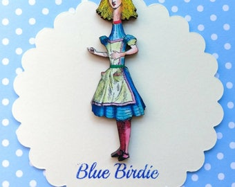 Tall Alice brooch Alice in Wonderland jewelry Alice brooch Alice in wonderland brooch Alice jewellery Alice grows tall badge Alice jewelry