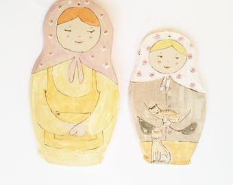 Wall decor Matriushka pair of two dolls, Pottery collectible dolls
