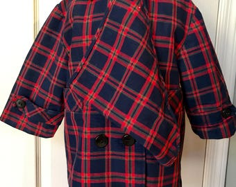 Vintage 1950 Trundle Bundle Plaid Coat with fleece lining/ and scarf