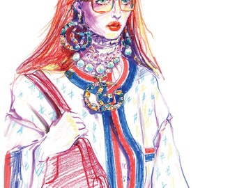 Fashion Illustration color pencils draw illustration girl glasses  illustration Fashion art Fashion girl illustration
