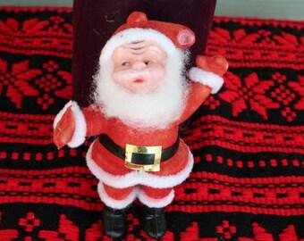 Blow Mold Santa, Old Saint Nick, Christmas Kitsch, Collectible Santa, Small Blow Mold, Singing Santa, Flocked Santa, Cute Little Santa