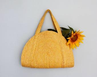 Vintage straw bag, large straw bag, beach bag, wicker, woven bag, market bag, straw tote, shopper,  straw purse, basket bag yellow VEGAN bag