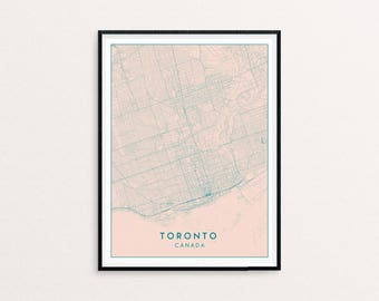 Toronto Blush Pink City Map Print, Clean Contemporary poster fit for Ikea frame 50x70cm, gift art him her, Anniversary personalized
