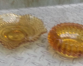 Set of Two Amber Ashtrays